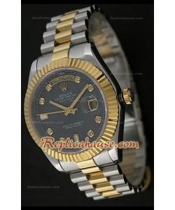 Rolex Daydate Reproducción Reloj Japonés Dos Tonos con Esfera de color Negro