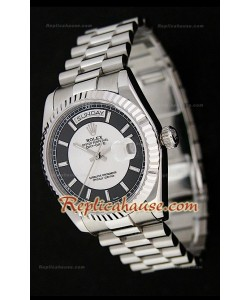 Rolex Daydate Reloj Suizo de Acero Inoxidable con Esferas dos Tonos