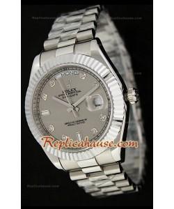 Rolex Daydate Reloj Suizo de Acero Inoxidable  con Esfera Gris