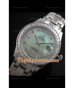 Rolex Daydate Reproducción Reloj Suizo con Esfera Madre Perla en Verde Green