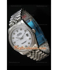 Rolex Datejust Reproducción Reloj Suizo para Hombres con Correa de Diamantes