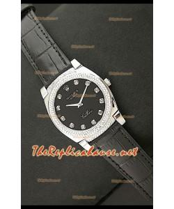 Rolex Celleni Reproducción Japonesa de Cuarzo Todo Negro y Diamantes