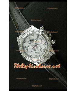 Rolex Daytona Reloj Cosmógrafo con Movimiento Suizo7750 y Correa de Piel Negra