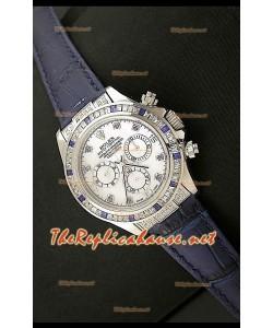 Rolex Daytona Reloj Cosmógrafo con Movimiento Suizo 7750 y Correa de Piel Púrpura