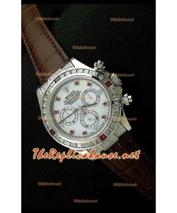 Rolex Daytona Reloj Cosmógrafo con Movimiento Suizo 7750 y Correa de Piel Marrón