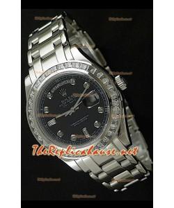 Rolex Daydate Reproducción Reloj Suizo - Reloj mediano- 37MM con Esfera de color Negro