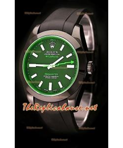 Rolex Milgauss Pro Hunter Reloj Suizo con Correa de Caucho y Zafiro Verde
