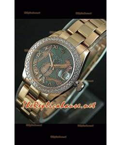 Reloj japonés Rolex Datejust para damas con estuche de 31 mm. rosa dorado.