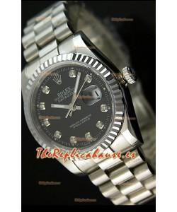 Rolex Réplica Datejust Mens Reloj Japonés Carcasa Negra – 41 MM