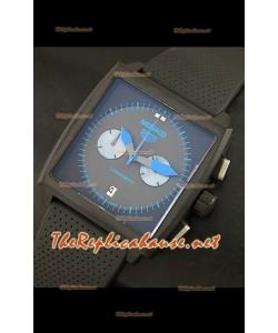 Reloj Tag Heuer Monaco edición japonesa limitada de titanio con marcadores de hora azul.