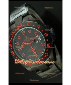 Reloj Rolex Explorer II Bamford, Réplica, Edición Stealth and Flame, Correa PVD