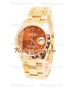 Datejust Rolex Reloj Suizo de imitación en Oro Rosa y Dial Marrón - 36MM