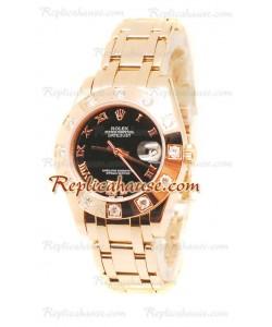 Datejust Rolex Reloj Suizo de imitación en Oro Rosa y Dial Negro - 34MM