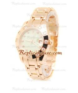 Pearlmaster Datejust Rolex Reloj Suizo en Oro Rosa y Dial verde perlado - 34MM