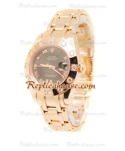 Datejust Rolex Reloj de imitación Japonés en Oro Rosa y Dial Marrón - 34MM