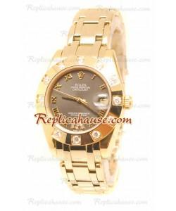Datejust Rolex Reloj de imitación Japonés en Oro Rosa y Dial Gris - 34MM