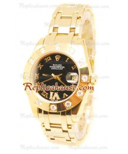 Datejust Rolex Reloj Suizo en Oro Amarillo y Dial Negro - 36MM
