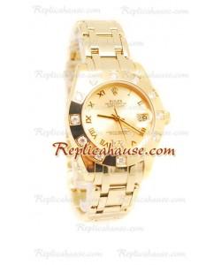 Datejust Rolex Reloj Japonés en Oro Amarillo y Dial dorado - 36MM