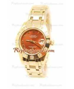 Datejust Rolex Reloj Japonés en Oro Amarillo y Dial Marrón - 36MM