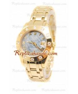 Pearlmaster Datejust Rolex Reloj Japonés en Oro Rosa y Dial Perlado - 34MM