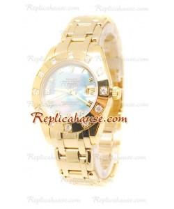 Pearlmaster Datejust Rolex Reloj Suizo en Oro Amarillo en el Dial Color Perla - 34MM