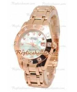 Pearlmaster Datejust Rolex Reloj Japonés en Oro Rosa con Dial Verde Perlado- 34MM