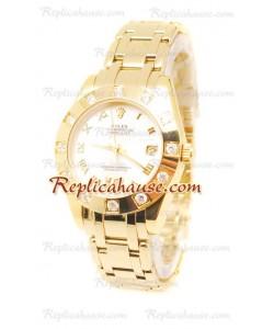 Datejust Rolex Reloj Suizo en Oro Amarillo y Dial Blanco - 36MM