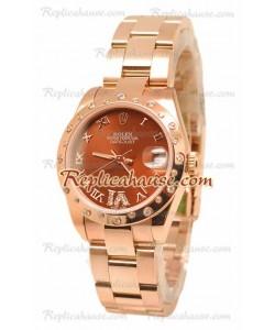 Datejust Rolex Reloj Japonés en Oro Rosa y Dial Marrón - 36MM