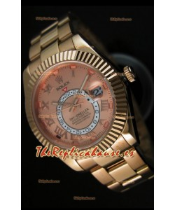 Rolex Sky-Dweller Reloj de Oro Amarillo de 18K en color Salmón con Numerales Romanos