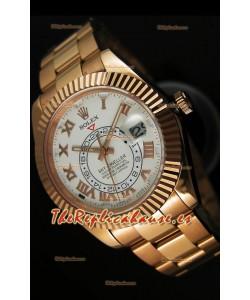 Rolex Sky-Dweller Reloj de Oro Amarillo de 18K Dial Blanco y Numerales Romanos