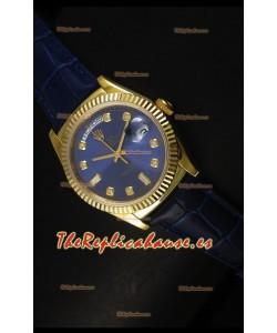 Rolex Day Date 36MM Reloj Réplica Suizo en Oro Amarillo - Dial Azul Oscuro