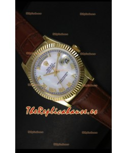 Rolex Day Date 36MM Reloj Réplica Suizo en Oro Amarillo - Dial Blanco MOP