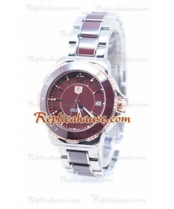 Tag Heuer Formula 1 Quartz Brown Ceramic Rose Bisel en oro con diamantes Reloj