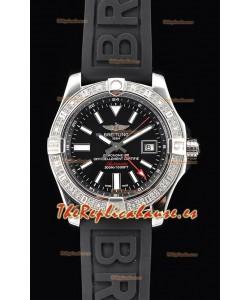 Breitling Avenger II Steel GMT Reloj Suizo a Espejo 1:1 Última Edición - Dial Negro