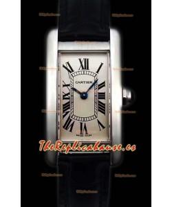 Cartier Tank Americaine Ladies Reloj Réplica de Cuarzo Suizo a Espejo 1:1