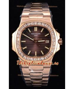 Patek Philippe Nautilus 5711/1R Reloj a Espejo 1:1 Bisel Diamantes Baguette