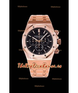 Audemars Piguet Royal Oak Chronograph Caja de Oro Rosado Dial Negro - Reloj Réplica 1:1