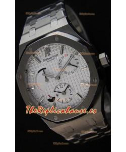 Audemars Piguet Royal Oak Dual Time Reloj Réplica Suizo en Dial Blanco