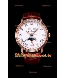 """Blancpain """"Villeret Quantième Complet"""" Reloj de Acero 904L en Oro Rosado Dial Blanco"""