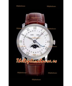 "Blancpain ""Villeret Quantième Complet"" Reloj de Acero Suizo 904L con Dial en color Blanco"
