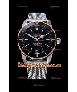 Breitling SuperOcean Heritage II 44MM Dial Negro de Dos Tonos Acero 904L, Reloj Réplica a Espejo 1:1