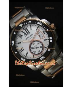 Calibre De Cartier Reloj 42MM Dial Negro, Caja en dos tonos - Reloj replica a espejo 1:1
