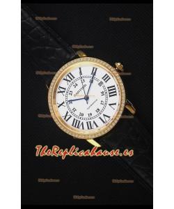 """Cartier """"Ronde De Cartier"""" Caja de Oro Amarillo, Bisel con Diamentes Creados en Laboratorio"""