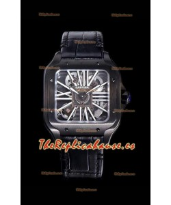 Cartier Santos DUMONT Skeleton Reloj con Caja revestida en DLC color Negro Movimiento Suizo