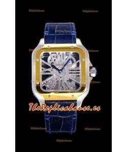 Cartier Santos DUMONT Skeleton Reloj con Bisel de Dos Tonos, Réplica Suizo