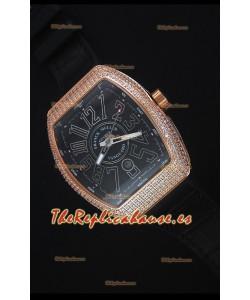 Franck Muller Vanguard Reloj Replica Suizo en Dial Negro
