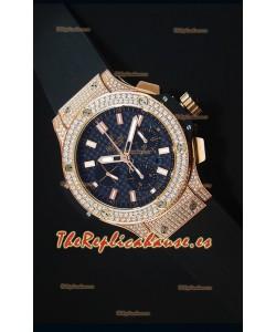 Hublot Big Bang Reloj Suizo en Oro Rosado Dial de Carbón con Diamantes Tachonados