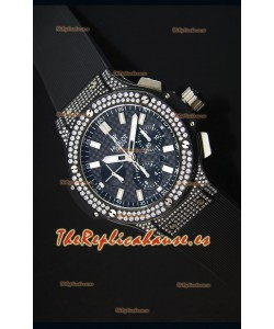Hublot Big Bang Reloj Caja Suiza Revestida en PVD Dial de Carbón con Diamantes Tachonados