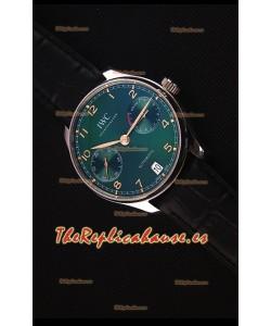 IWC Portugieser Versión Suiza Actualizada - Reloj Replica Suizo a Espejo 1:1Dial Verde Caja de Acero