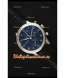 IWC Portuguese  Reloj Replica Cronógrafo a Espejo 1:1 Dial y Correa color Negro con Diamantes